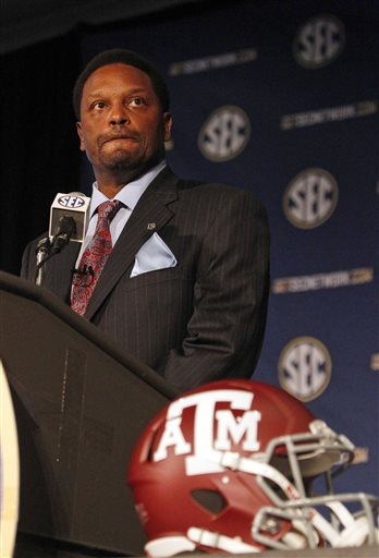 Texas A&M Coach Kevin Sumlin speaks to the media at the Southeastern Conference NCAA college football media days, Tuesday, July 15, 2014, in Hoover, Ala.