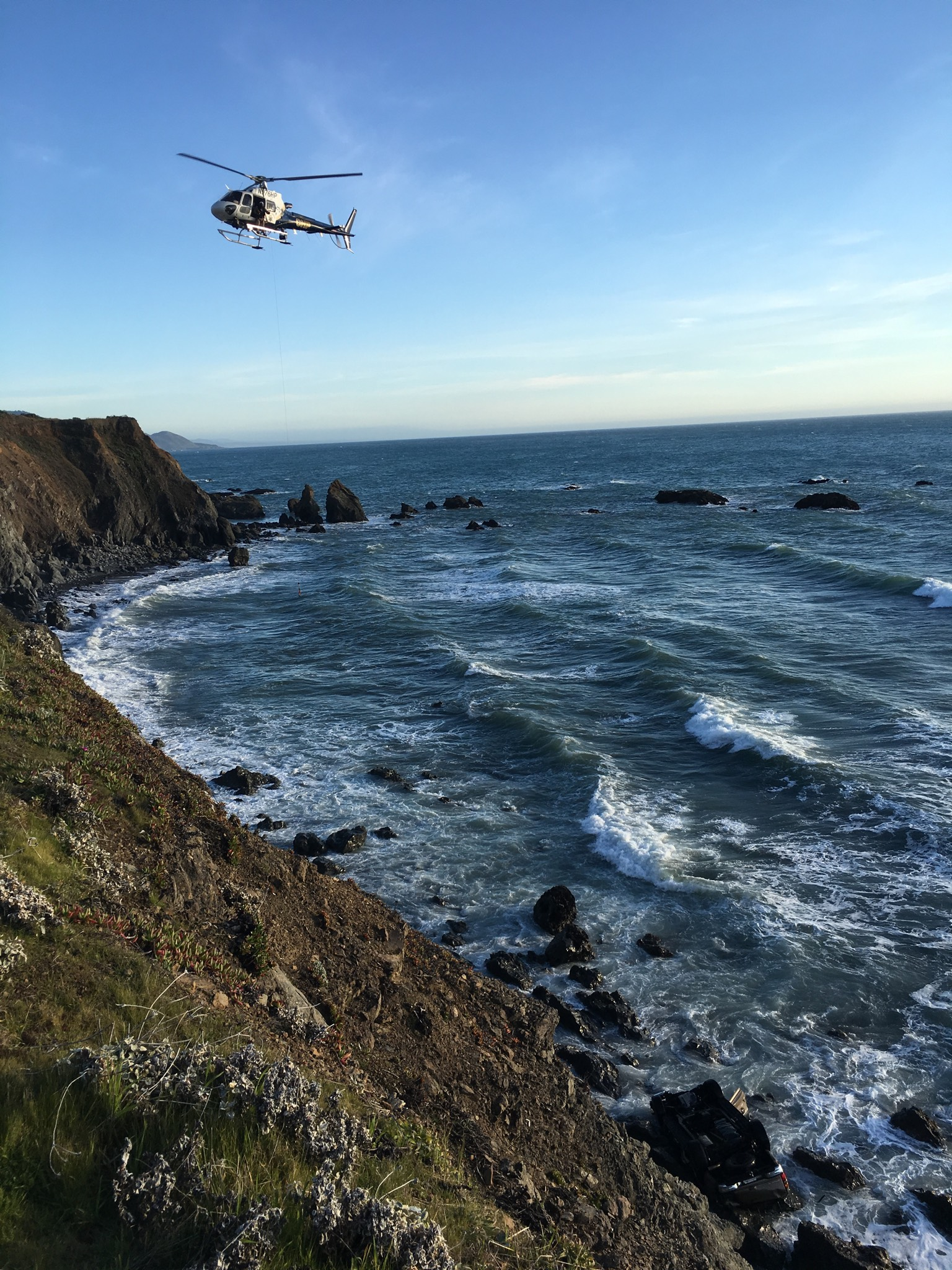 California Highway Patrol says a West Linn family of five died after driving off a cliff on State Route 1. They were found Monday, March 26, 2018. Photo courtesy California Highway Patrol