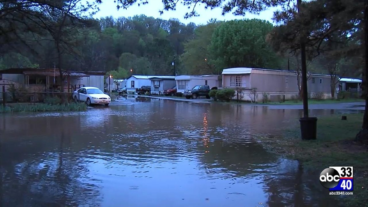Flooding at a mobile home park in Irondale, Ala., Monday, April 7, 2014.