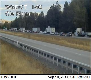 At least one person was killed in a multi-car crash involving a semi-truck on eastbound Interstate 90 near Cle Elum, according to the State Patrol. (Photo: WSDOT camera)