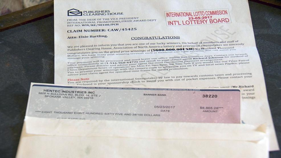 Sweepstakes check scam