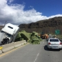 Overturned truck, 1 ton of hay block I-90 bridge at Vantage