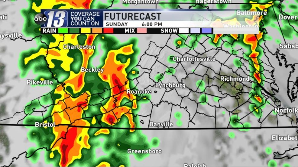 Strong storms late Sunday updated timing and maps WSET