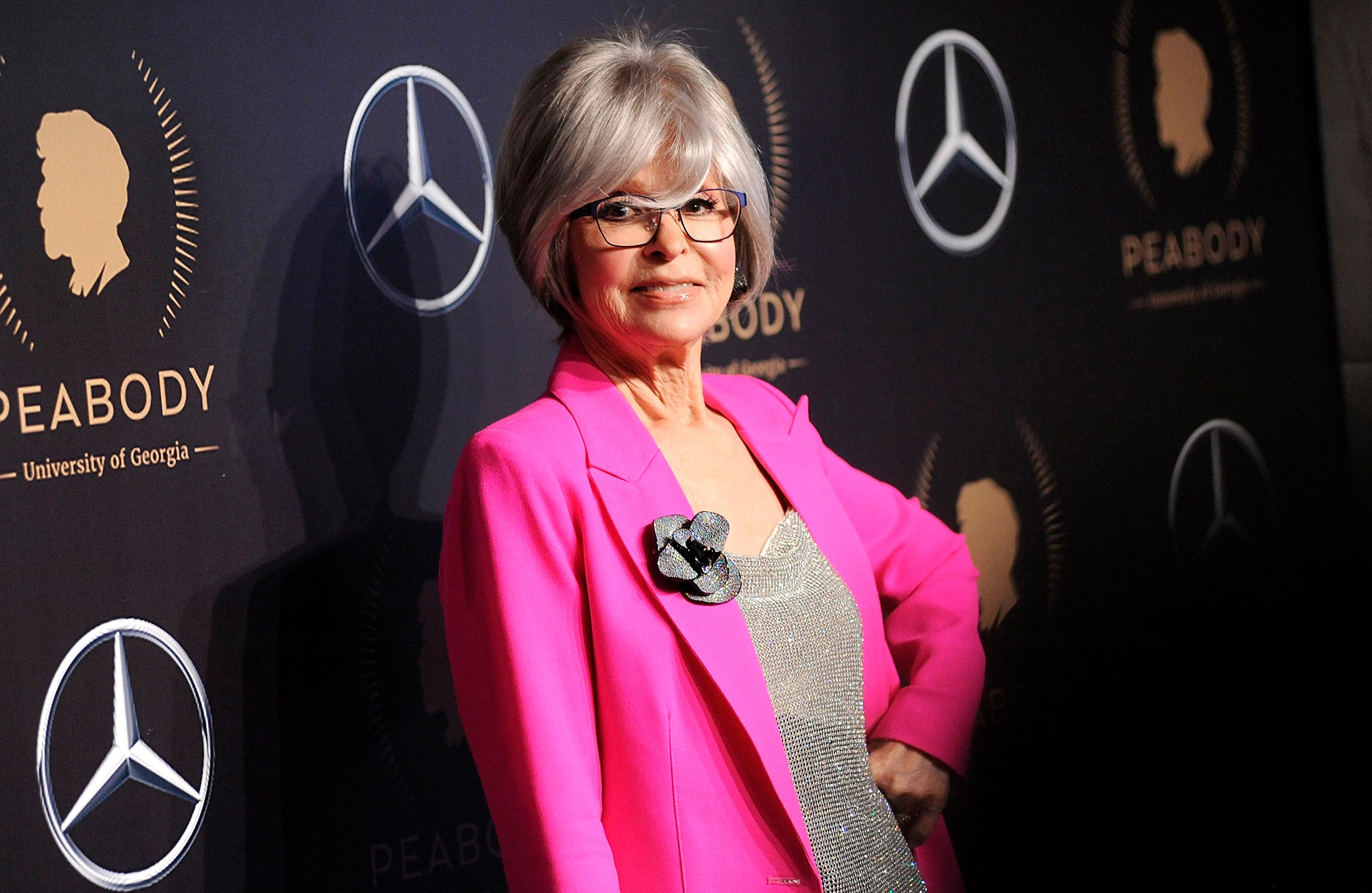 FILE - This May 18, 2019 file photo shows actress Rita Moreno at the 78th annual Peabody Awards in New York. PBS announced Monday, July 29.  (Photo by Brad Barket/Invision/AP, File)